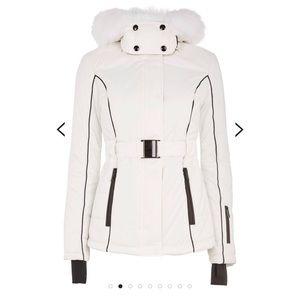 White Faux Fur Hooded Ski Jacket By Topshop SNO